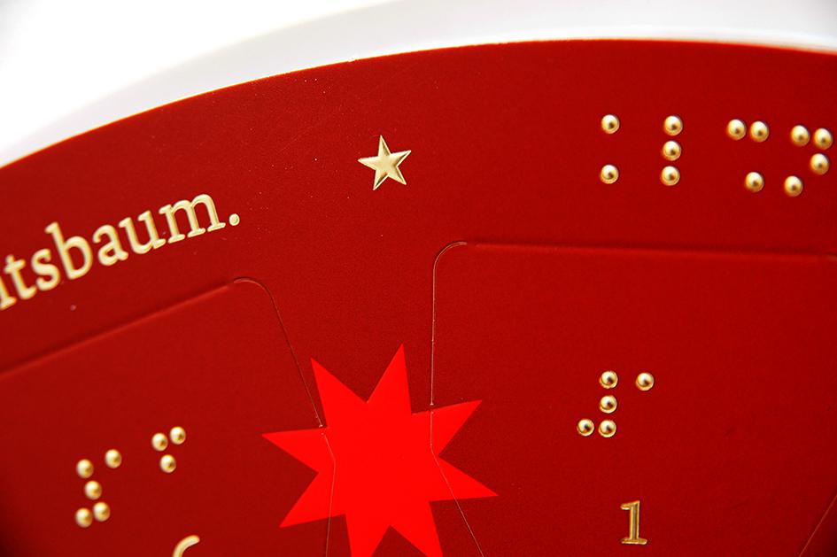 Adventskalender mit Braille Punktschrift