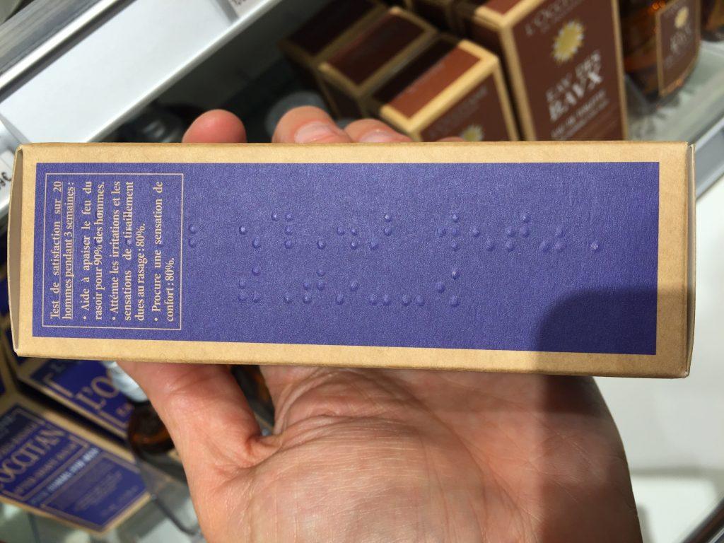 Verpackung mit Punktschrift