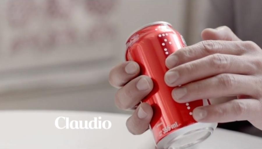 Coca Cola Dose mit Punktschrift