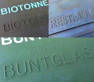 Recycling- und Mülltonnen in Österreich sind mit Punktschrift und Profilschrift ausgestattet.
