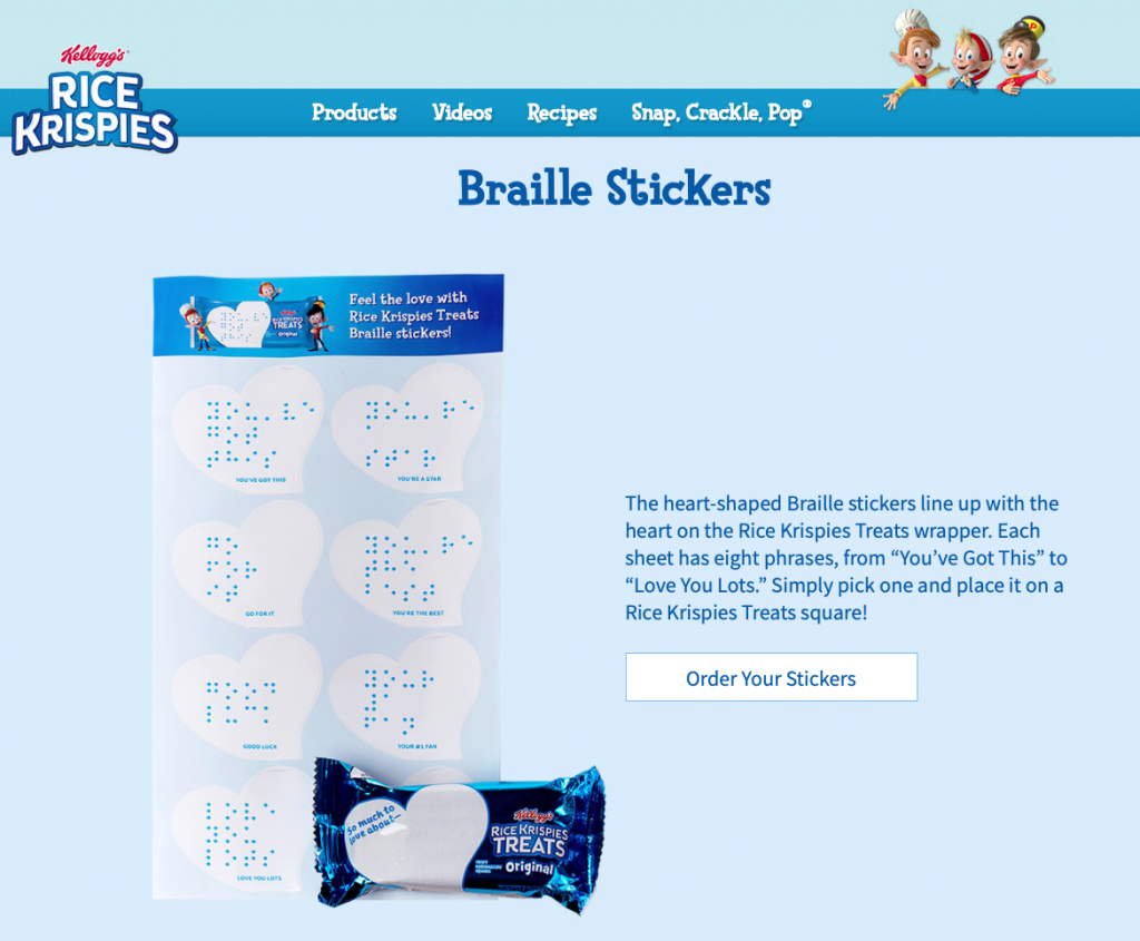 Kelloggs Braille-Notes-Sticker